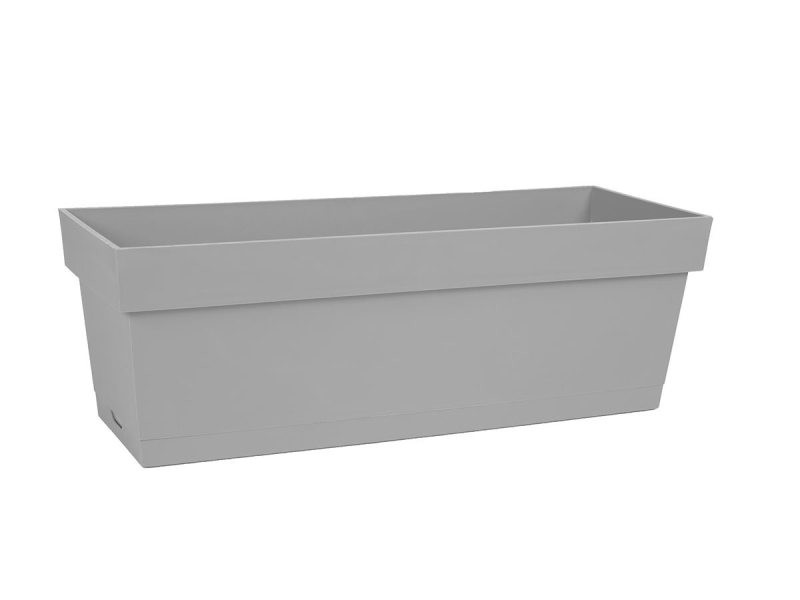Jardinière toscane + plateau clipsé 50 x 18 x 16,7 cm - gris béton