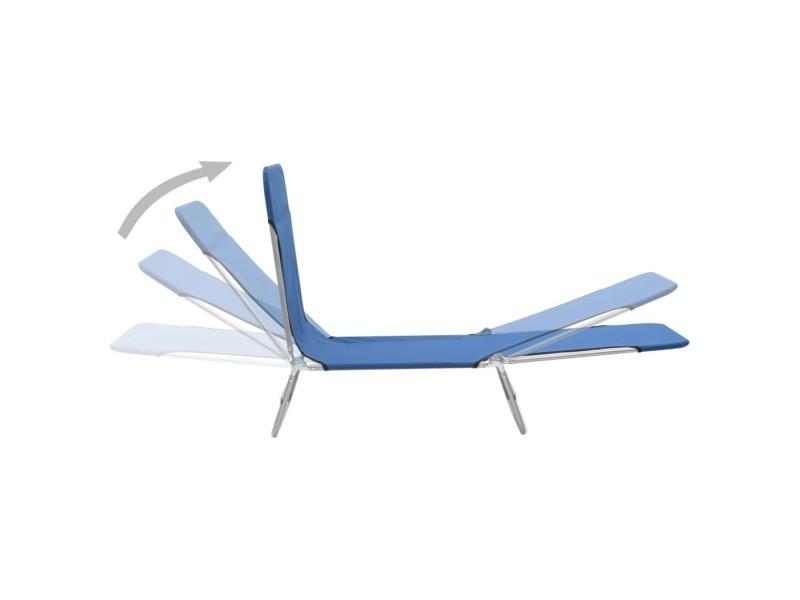 Vidaxl chaises longues pliables 2 pcs acier et tissu bleu 44299