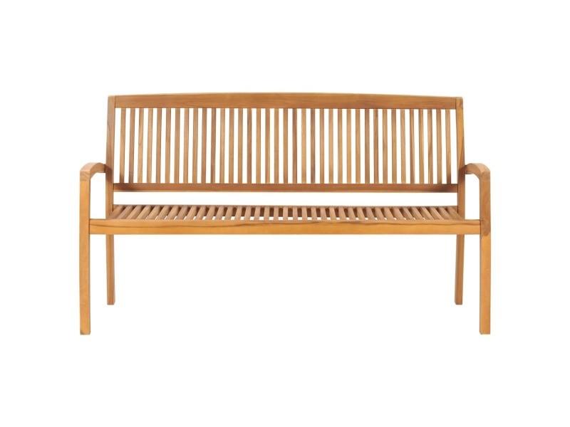 Icaverne - bancs de jardin gamme banc 3 places empilable de jardin 159 cm bois de teck solide