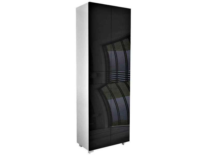 Meuble de salle de bain blanc mat / portes laquées noir 170 x 60 x 34 cm