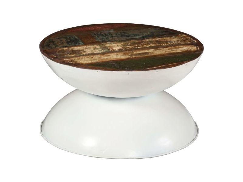 Splendide consoles serie kingstown table basse bois de récupération massif base blanche 60x60x33cm