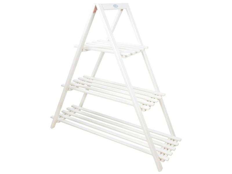 Esschert design échelle à plantes à 3 niveaux triangle blanc cf69w 423793