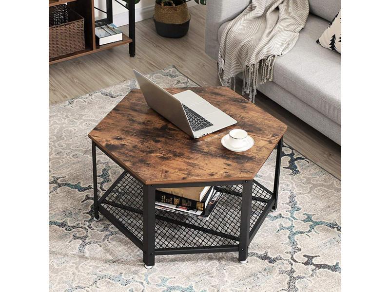 Table basse hexagonale - ramizu - effet bois foncé / noir - style industriel