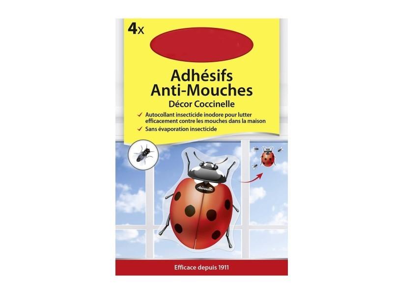 Lot de 4 adhésifs anti-mouches décor coccinelle