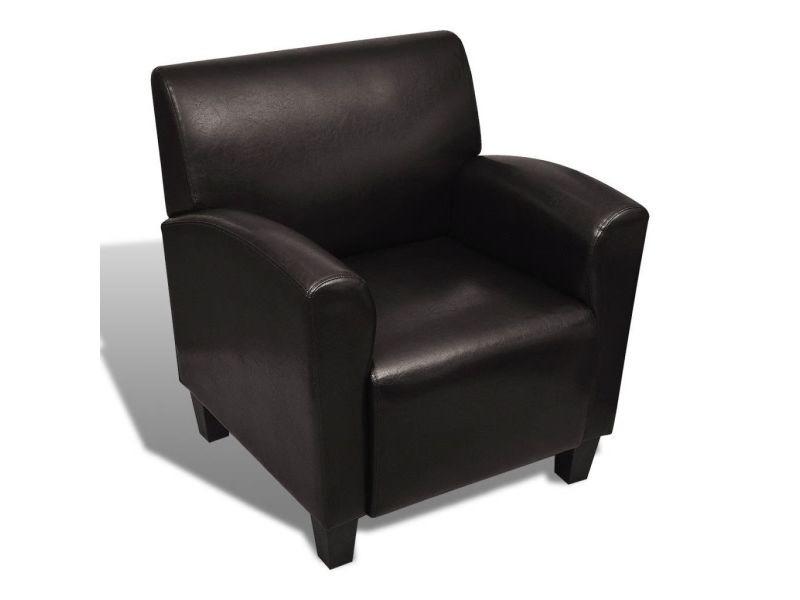 Fauteuil chaise siège lounge design club sofa salon cuir synthétique marron foncé helloshop26 1102043/3