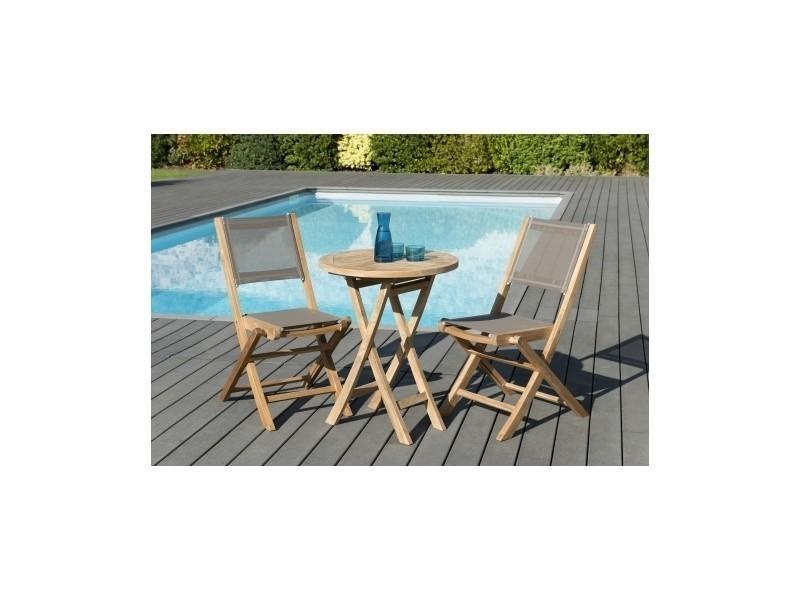Salon de jardin en teck et textilène avec 1 table ronde pliante et 2 ...
