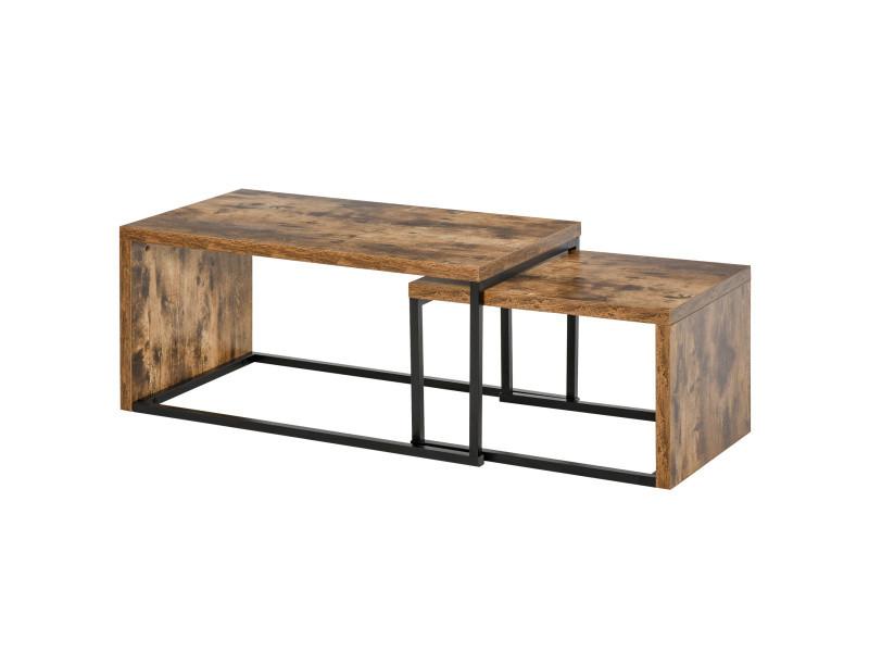 Lot de 2 tables basses gigognes design industriel encastrable dim. Grande table 90l x 48l x 42h cm métal noir aspect vieux bois