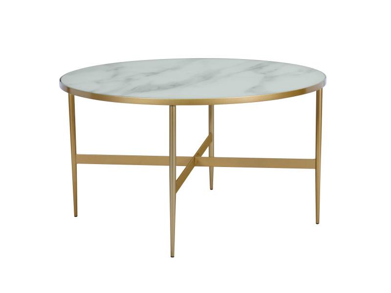 Table basse ronde alaska en verre effet marbre et laiton - Table basse ronde conforama ...
