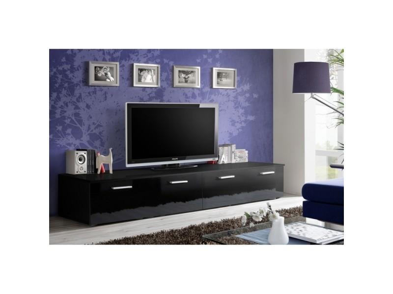 Banc tv - duo - 200 cm x 35 cm x 45 cm - noir