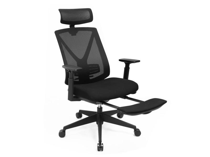 Songmics chaise de bureau avec repose pied, fauteuil de bureau ergonomique, en filet, mécanisme basculant (90-135°), charge max. 150 kg, noir obn61bkv1 Fauteuil de Bureau Ergonomique 68,5 x 69 x (116-132) cm (L x l x H)