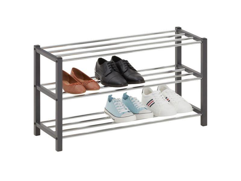Étagère à chaussures dublin rangement porte-chaussures avec 3 niveaux pour 12 paires en métal chromé et laqué gris
