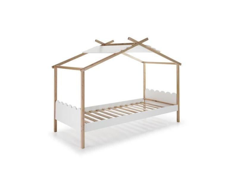 Structure de lit nuvem lit cabane enfant en bois pin massif et mdf laqué - décor naturel et blanc - l90 x l190 cm