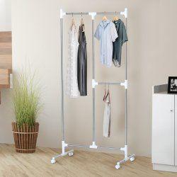 Portant / penderie à vêtements sur roulettes 3 espaces de rangement acier chromé et plastique 88l x 43l x 176h cm neuf 72