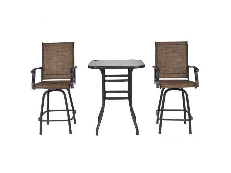 Ensemble salon de jardin bar 3 pièces 2 tabourets pivotants + 1 table bistro plateau verre trempé acier textilène marron