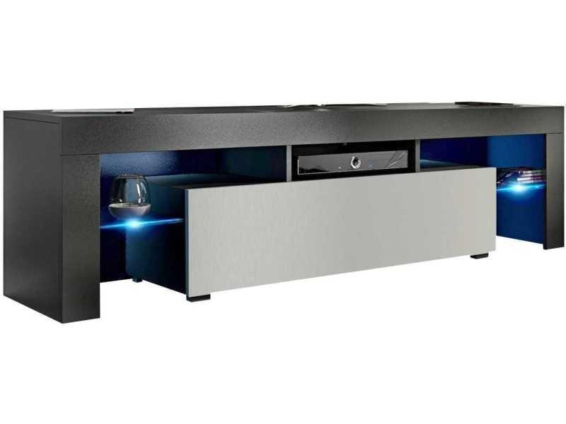 Meuble tv 160 cm noir mat / blanc mat + led rgb