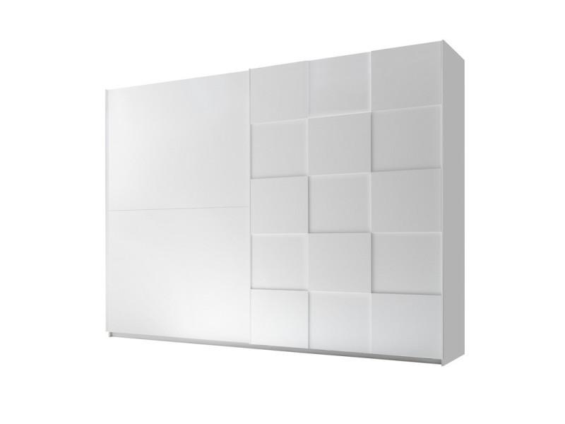 Armoire 2 portes coulissantes 275 cm blanc mat - ticato - l 275 x l 64 x h 210 - neuf