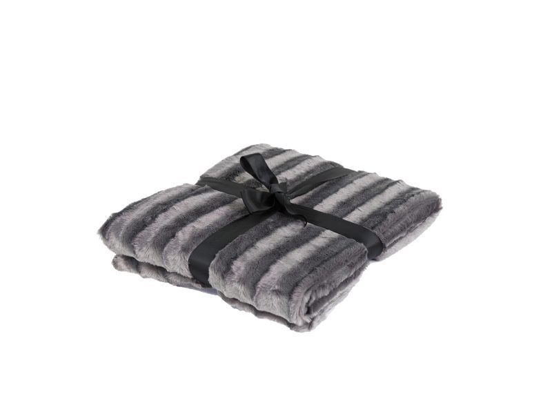 Plaid 130 x 180 cm fausse fourrure gris - gris/gris - gris/gris FF-PLAID/UNI/PARENT