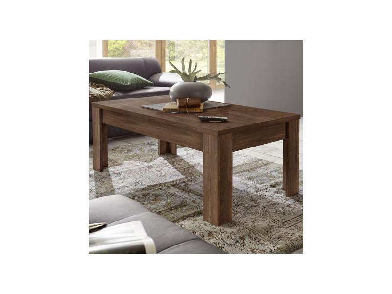 Table basse rectangulaire chêne foncé - rimini - l 122 x l 65 x h 45 - neuf