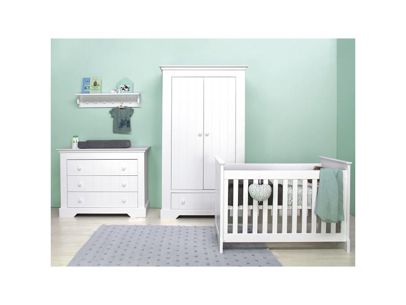 Chambre complète lit bébé 9x9 - commode à langer - armoire 9 portes  narbonne - blanc
