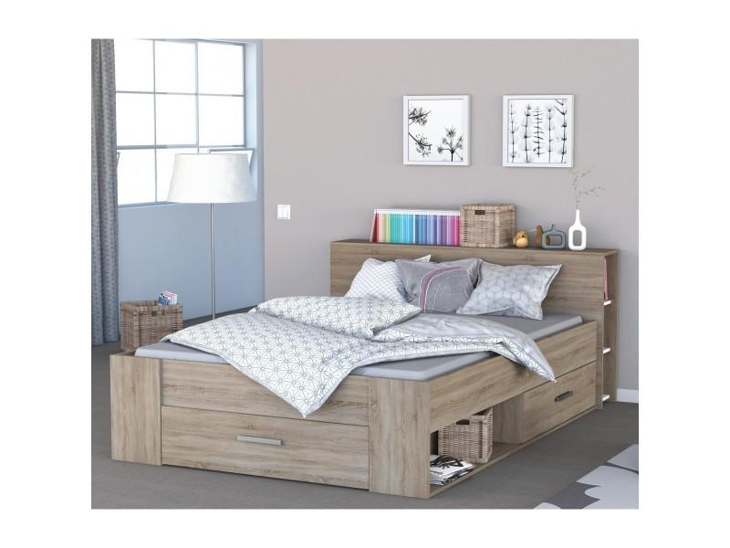 lit en bois avec tiroir imitation ch ne bross 160x200 terre de nuit vente de lit adulte. Black Bedroom Furniture Sets. Home Design Ideas