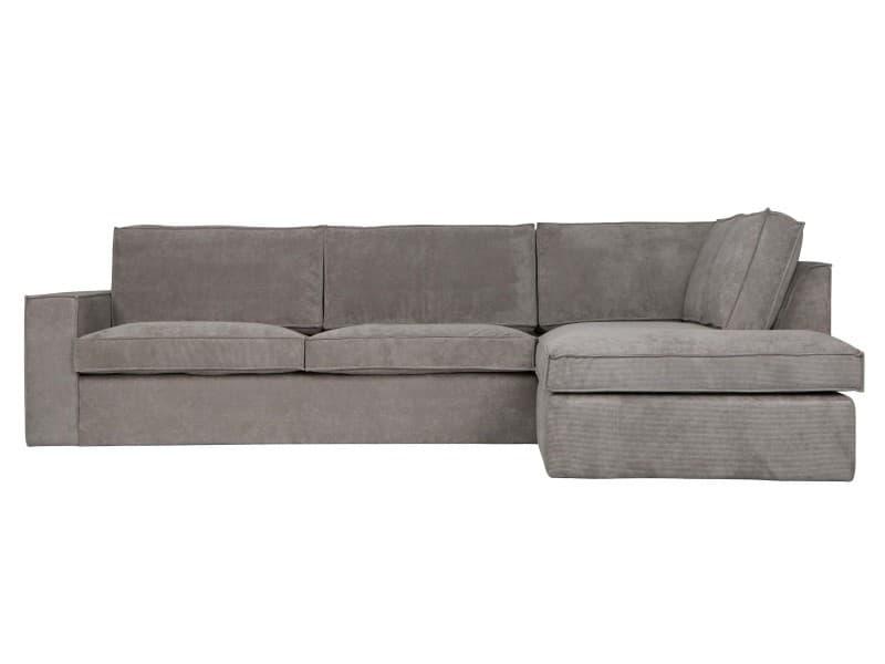 Thomas - canapé d'angle à droite tissu côtelé - couleur - gris 375757-G