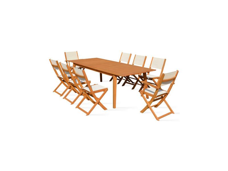 Table de jardin en bois extensible 2 fauteuils et 6 chaises 200 ...
