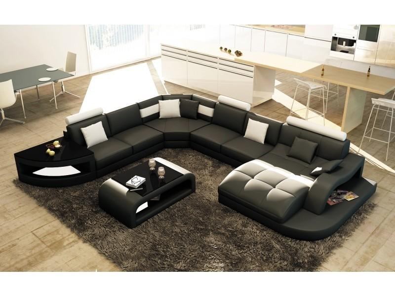 Canapé d'angle design panoramique noir et blanc istanbul (angle droit)-