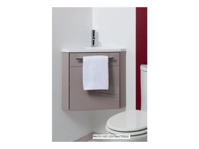 Aqua+ - meuble d\'angle lave-mains blanc à suspendre 40cm ...