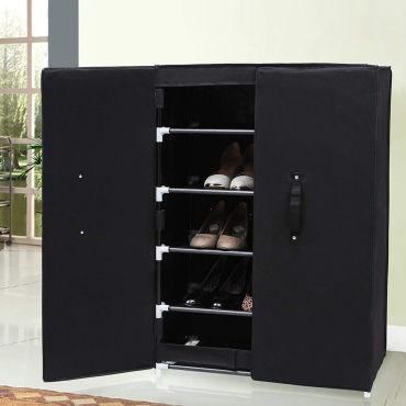 BARATINS Meuble à chaussures en tissu noir 58 cm