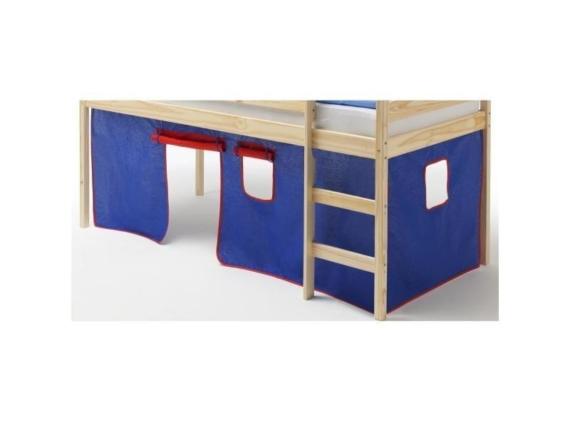 rideaux pour lit superpos ou lit sur lev coton bleu et rouge vente de lit enfant conforama. Black Bedroom Furniture Sets. Home Design Ideas