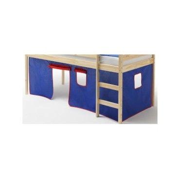 rideaux pour lit superpos ou lit sur lev coton bleu et rouge vente de lit enfant conforama. Black Bedroom Furniture Sets. Home Design Ideas