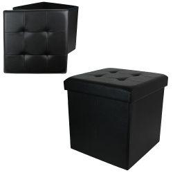 Coffre pouf de rangement pliable arty simili noir