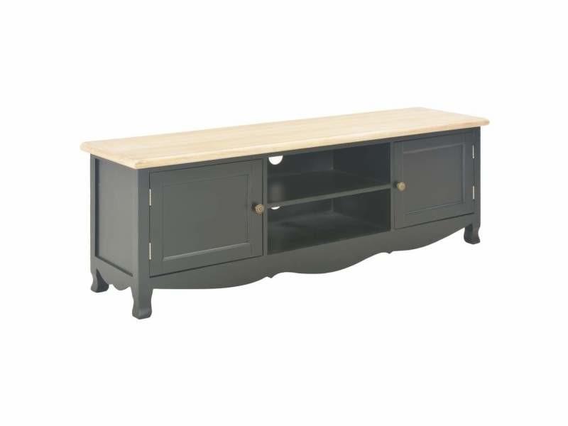 Meuble télé buffet tv télévision design pratique noir 120 cm bois helloshop26 2502204