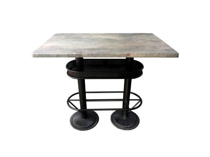 Oakland - table bistrot/industriel plateau effet beton gris