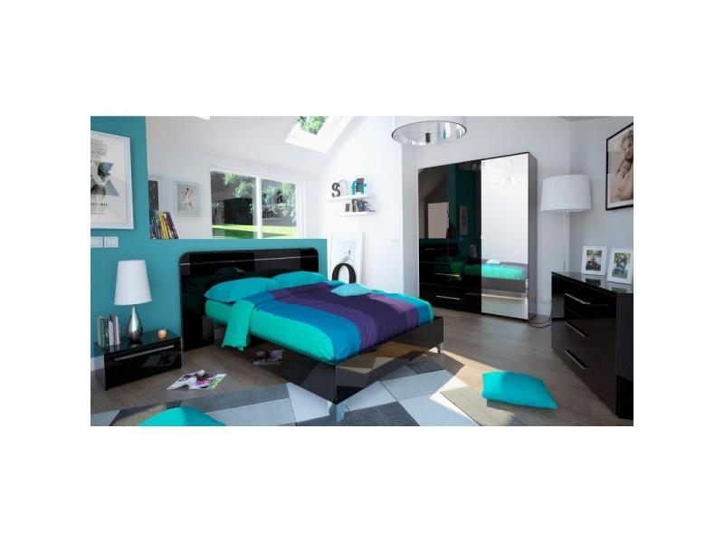 Chambre adulte compl te 160 200 laqu noir uno l 195 for Vente chambre adulte complete