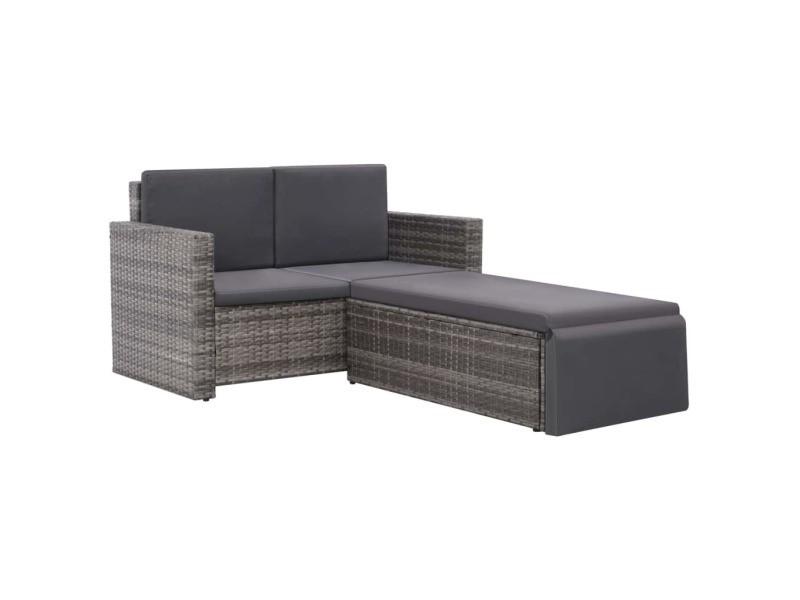Icaverne - ensembles de meubles d'extérieur gamme ensemble de canapé de jardin 7 pcs résine tressée gris