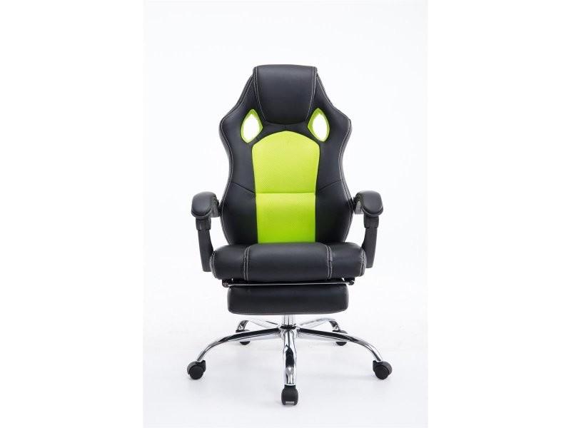 fauteuil de bureau ergonomique avec repose pieds extensible appui t te noir vert bur10095. Black Bedroom Furniture Sets. Home Design Ideas