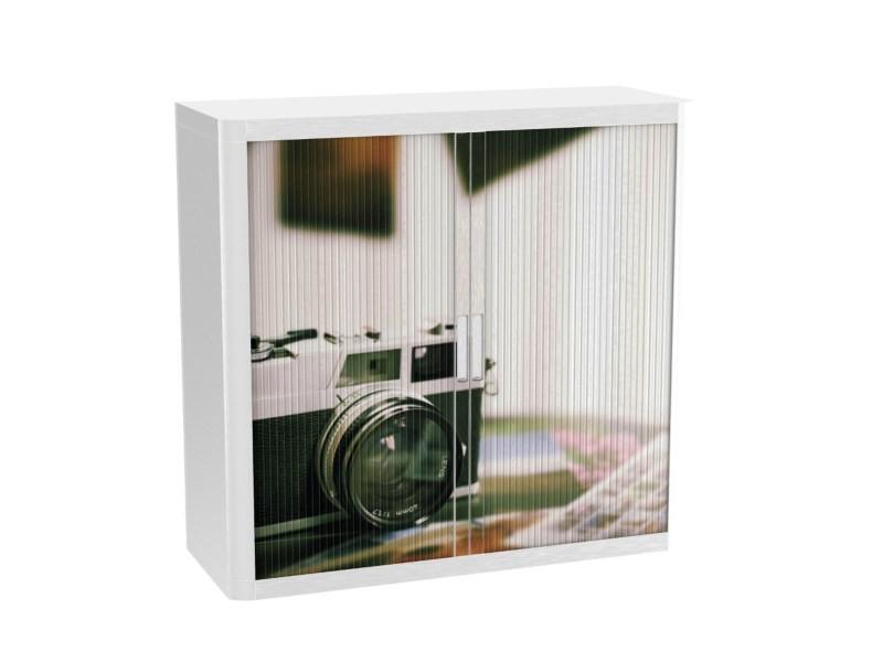 Armoire de bureau métalique porte coulissante h 1m - appareil photo
