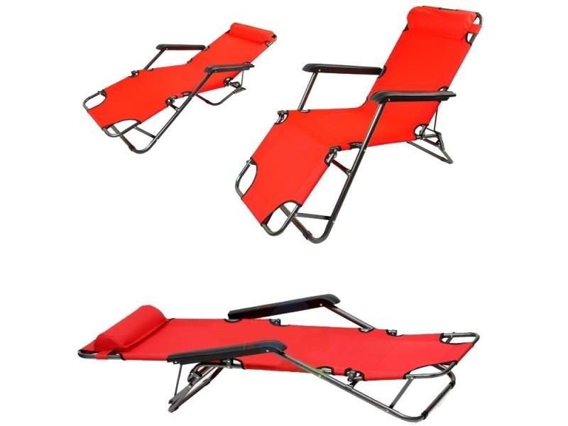 Transat chaise longue jardin plage 3 positions rouge - Vente de ...