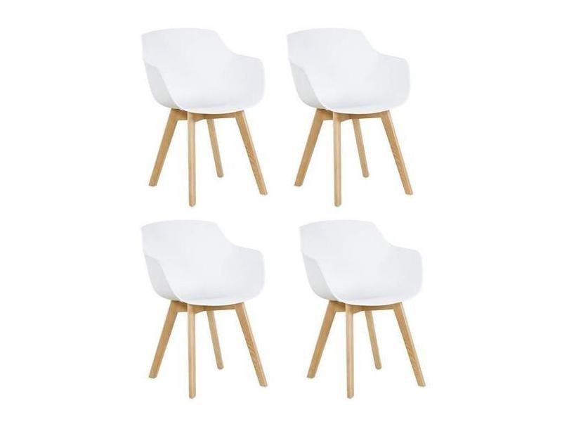 Lot de 4 chaise salle à manger fauteuils scandinave de cuisine avec pieds en bois de hêtre massif blanc