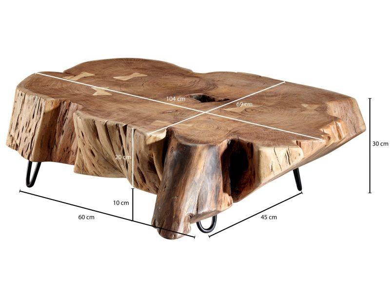 Table Basse Marron Rustique Tronc D Arbre En Bois Massif