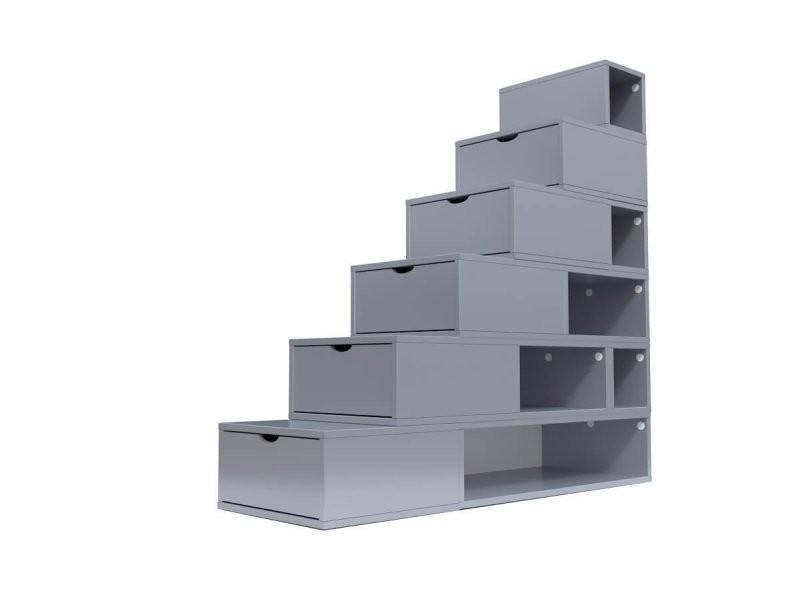 Escalier cube de rangement hauteur 150cm gris aluminium ESC150-GA