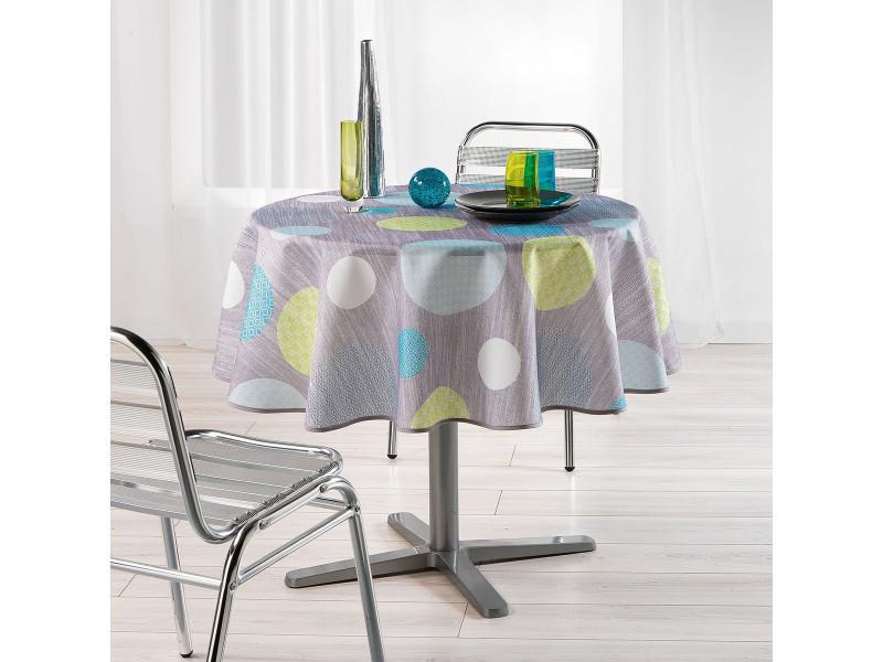 Nappe de table ronde ø180cm atolls anis toucher soft
