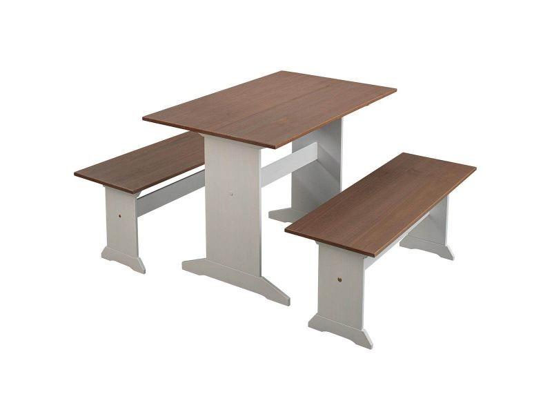 Lucain - ensemble table repas + 2 bancs bois massif