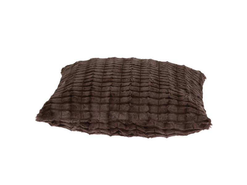 Housse de coussin 45 x 45 cm fausse fourrure marron - marron - /marron FF-COU/UNI/PARENT