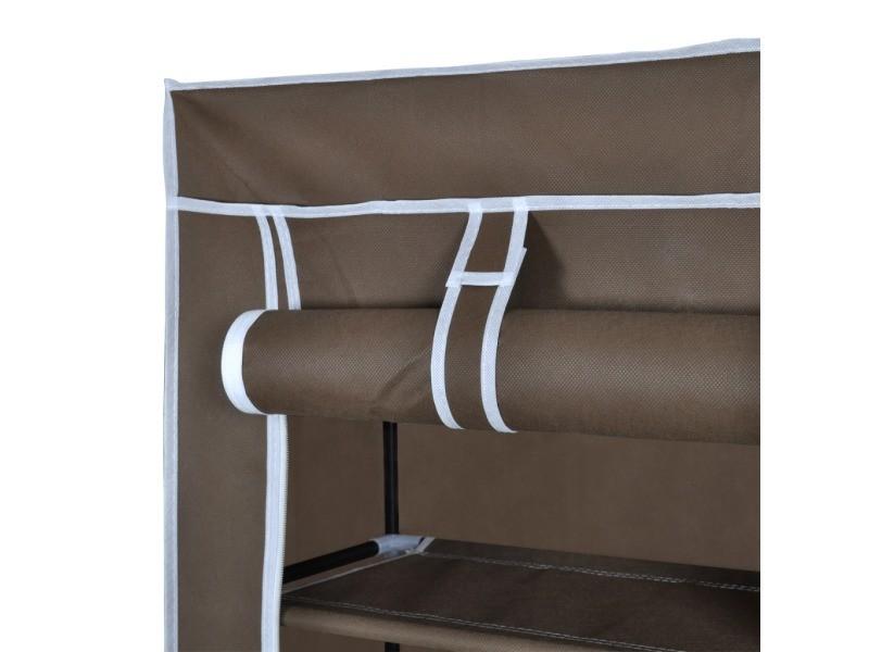 armoires chaussure tag re 20 paires tissu marron helloshop26 2002035 vente de penderie en. Black Bedroom Furniture Sets. Home Design Ideas