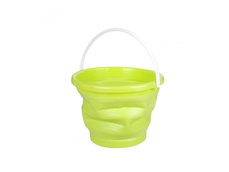 Seau rétractable - 30 x 23 cm - plastique - vert