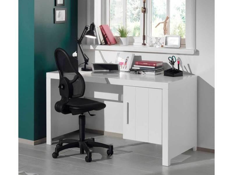 Vipack bureau erik bois laqué blanc avec caisson porte