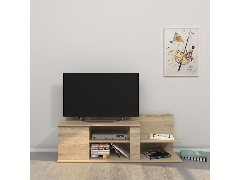 Meuble tv design marshall - l. 120 x h. 42 cm - marron