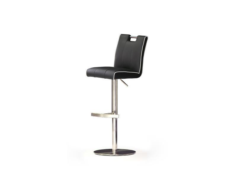 Tabouret de bar en cuir socle rond en acier brossé, rotation 360° coloris noir - dim : h 87-112 x 42 x 51 cm -pegane-